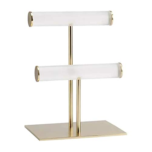 Tuneway New Double Layer Watch Stand Acrylic Steel Gold Watch Jewelry Display Stand Necklace Bracelet Stand