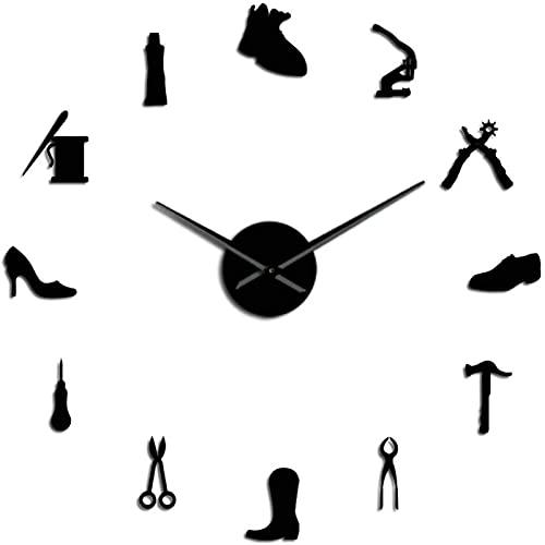 HLSH Relojes de Pared Zapatería Herramienta de Zapatero Profesión DIY Reloj de Pared Herramienta de Zapatero Vintage Martillo de Zapatos Autoadhesivo Acrílico Espejo Adhesivo Reloj 47 Pulgadas