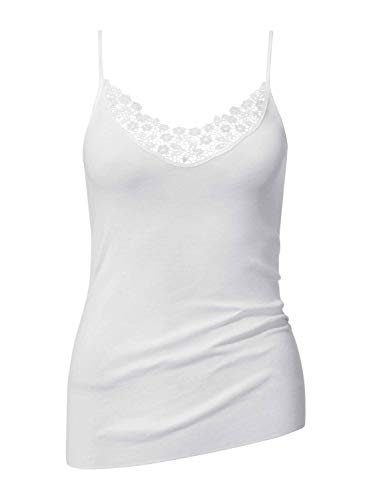CALIDA Damen Spaghetti-Top Feminin Sense Unterhemd, Weiß, 46