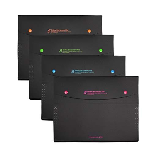 VIQWYIC 4 Pack erweitern Dateiordner A4 Größe, 5 Taschen mit Snap Closure Kunststoff Akkordeon Dokument Veranstalter Dateiordner für Schule Bürobedarf