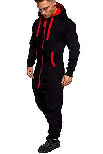 Amaci&Sons Herren Overall Jumpsuit Jogging Onesie Trainingsanzug Camouflage 3004 Schwarz/Rot L