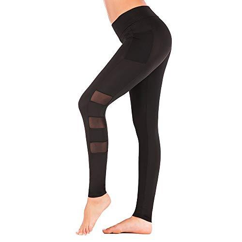 Leggings Donna Fitness Palestra Pantaloni da Yoga, Pantaloni skinny skinny a rete patchwork da donna Pantaloni quick skin traspiranti a traspirazione sexy pantalone pantalone a coste laterali tasca pa