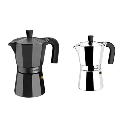 Monix Vitro Noir – Cafetera Italiana De Aluminio, Capacidad 3 Tazas + Vitro Express-Cafetera, Apta Para Todo Tipo De Encimeras, Excepto Inducción, Aluminio, Plata, 3 Tazas