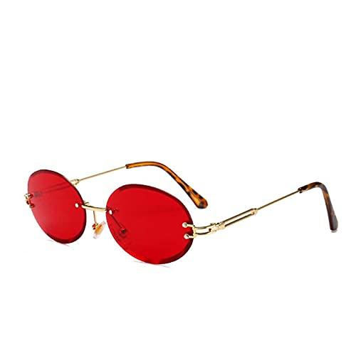 AMFG Gafas De Sol Ovaladas Sin Marco Gafas De Sol Oval Trend Street Party Party Outdoor Driving Gafas (Color : A, Size : M)