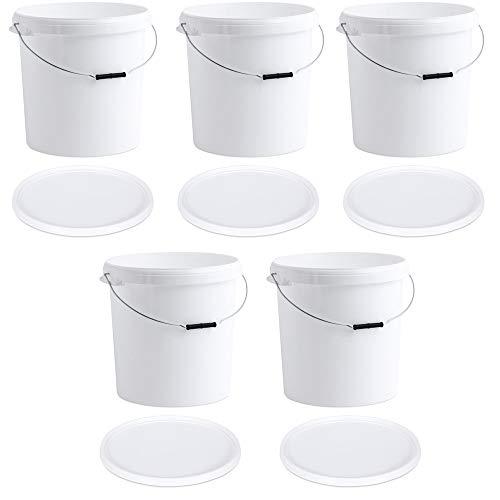 OIPPS Packung mit 5 x 30 Liter Eimern aus weißem Kunststoff mit Deckel
