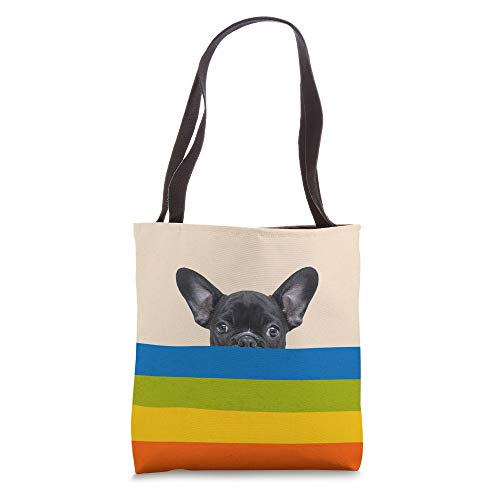 Retro Vintage Rainbow Dog French Bulldog Cute Frenchie Tote Bag