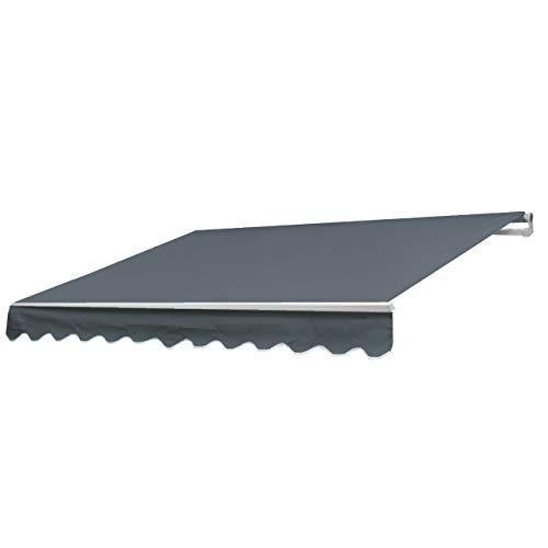 Mendler Alu-Markise HWC-E31, Gelenkarmmarkise Sonnenschutz 3x2,5m ~ Acryl Grau