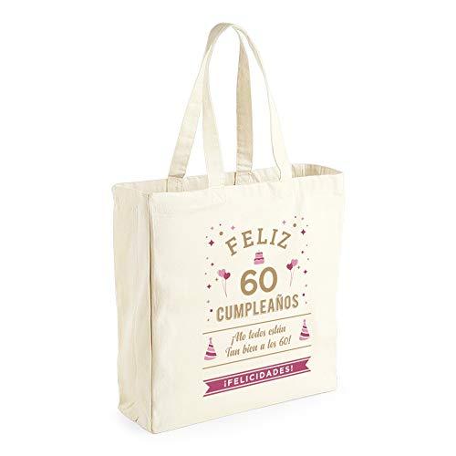 Design, Invent, Print! Bolsa de Lona de algodón de 60 cumpleaños - para Mujer - como Regalo, Recuerdo o para Hacer la Compra - Natural - 42 x 39 x 13 cm