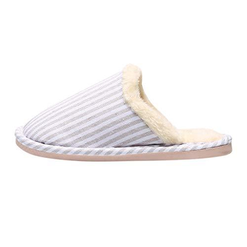 BaZhaHei Damen Herren Plüsch Baumwolle Pantoffeln Weiche Leicht Wärme Hausschuhe Kuschelige Für Unisex Gestreifte Gästeschlappen warme rutschfeste Indoor Schuhe