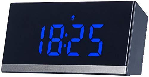 infactory Funkwecker: Dimmbare Funk-LED-Tischuhr, Wecker und Temperaturanzeige, schwarz/blau (LED Funkwecker)