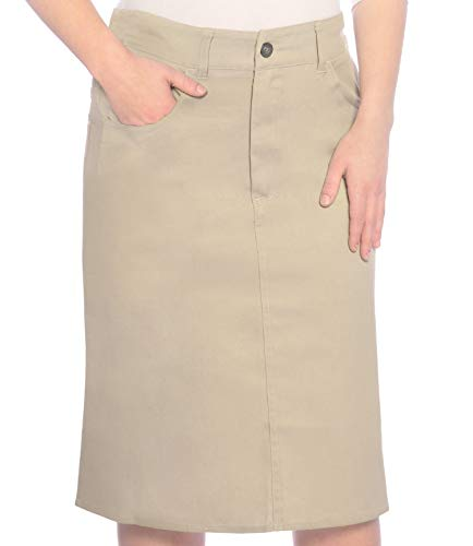 Kosher Casual Women's Modest Knee Length Lightweight Cotton Stretch Twill Pencil Skirt Small Beige