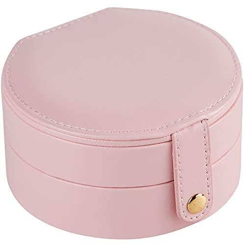 RWEAONT Caja de joyería Mini Redonda portátil Linda PU Hebilla magnética Pendientes de Viaje Collar Anillo Caja de Almacenamiento Joyas de joyería (Color : Pink)