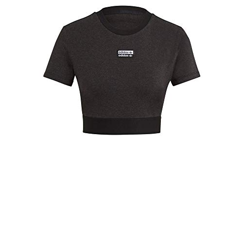 adidas GN4324 Cropped Tee T-Shirt Womens Black Melange 44