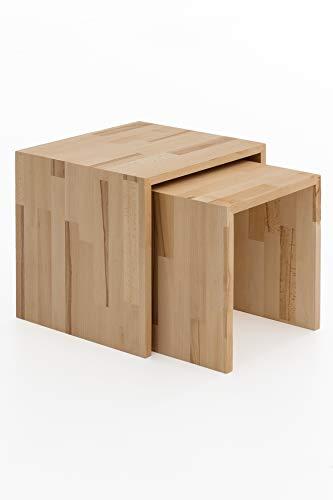 Woodlive Beistelltisch 2er Set Wohnzimmertisch aus Massivholz Wildeiche & Kernbuche massiv geölt 41x41x38 cm & 33x37x35 cm (Kernbuche)