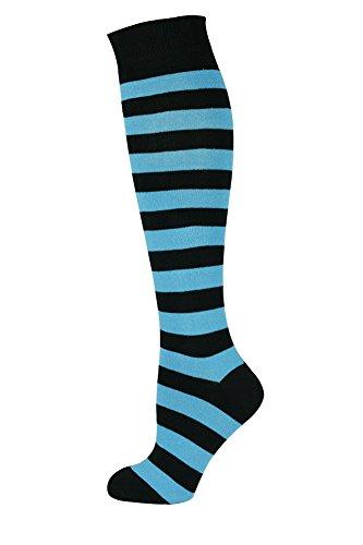 Mysocks Unisex Kniestrümpfe lange Socken Streifen Türkis schwarz