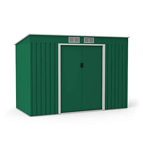 BillyOh Cargo Pent Metal Shed with Foundation Kit | Hot-Dipped Galvanised Metal Storage | Garden Storage Garden Shed - Dark Green (7x4)