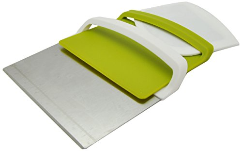 Silicone Gold Cortador, Recogedor y Espátula 3 en 1, Acero, Verde, 14.7x12.8x3 cm