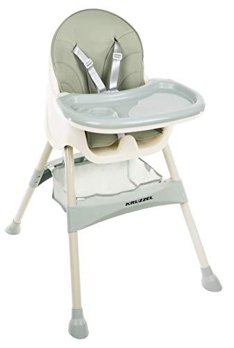 KRUZZEL Hochstuhl für Babys Verstellbar Klappbar Tisch 5-Punkt Gurt 12060, Farbe:Grün