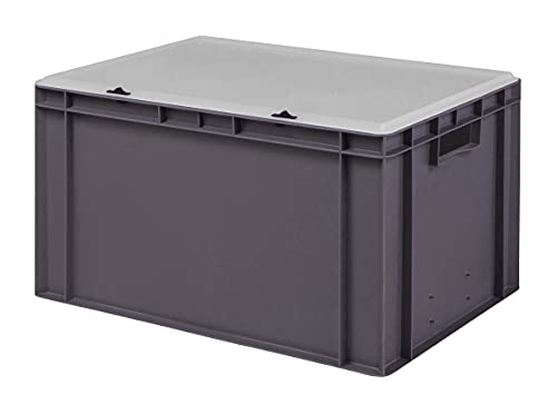 Design Eurobox Stapelbox Lagerbehälter Kunststoffbox in 5 Farben und 16 Größen mit transparentem Deckel (matt) (grau, 60x40x33 cm)
