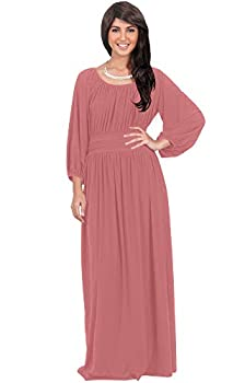 KOH KOH Womens Long Sleeve Sleeves Vintage Peasant Empire Waist Fall Loose Flowy Fall Winter Casual Maternity Abaya Gown Gowns Maxi Dress Dresses Cinnamon Rose Pink M 8-10
