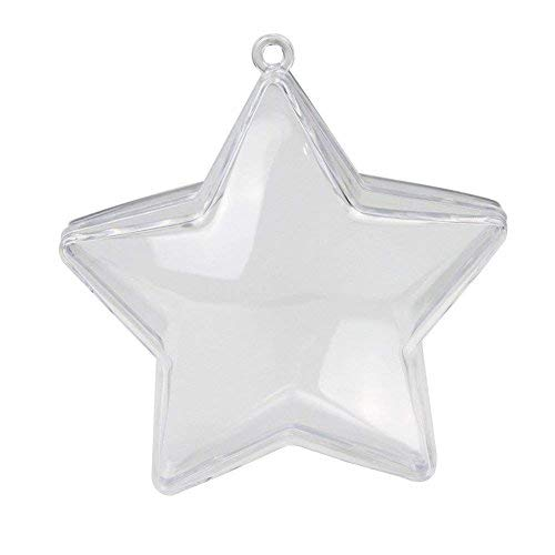 10 Pieces of Transparent Plastic Filled Star Ball Ornaments...