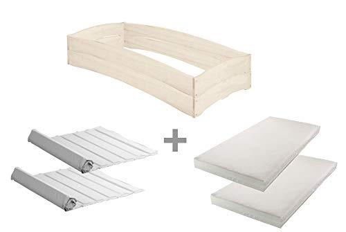 BioKinder complete set 2x Leandro stapelbed Stapelbed met 2x lattenbodem en 2x matras van massief hout grenen 90 x 200 cm wit geglazuurd