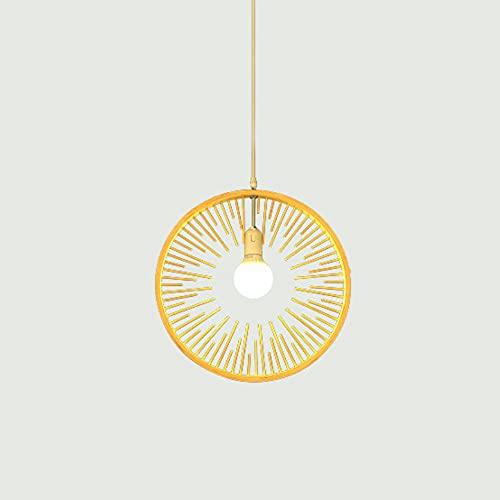 KAIKEA Lámpara colgante de linterna de bambú ultrafina redonda creativa, estilo retro japonés E27, lámpara colgante, lámpara de techo, accesorio de iluminación para sala de estar, dormitorio, restaura