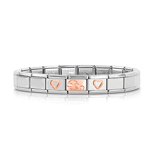 OYZK Moda de niñas Rose Hollow Heart 12 Constellation Charm Links Brazalete Brazalete de Regalo de cumpleaños para Mujeres Hombres (Metal Color : Cancer)