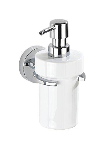 WENKO 22315100 Vacuum-Loc Seifenspender Capri, Flüssigseifen-Spender, Zinkdruckguss, 8 x 17 x 13 cm, chrom