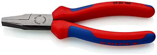 KNIPEX 20 02 160 Alicate de boca plana negro atramentado con fundas en dos componentes 160 mm