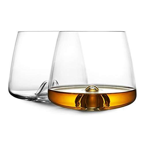 Home+ Vasos de Whisky Gafas de Whisky para Hombres, Conjunto de Vidrio de Agua de 12 oz de 2, Tazas a Prueba de roturas claras Reutilizables para Whisky, Whisky, Licor y cócteles