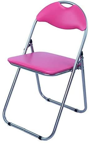 Artificial Leather Folding Comfortable Durable Cushion Office Reception Desk Chair Foldable Chair,Pink