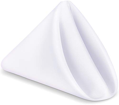 Utopia Home [24 Pack] Cloth Napkins 17 by 17 Inches, 100% Polyester White Dinner Napkins with Hemmed Edges, Washable Napkins Ideal for Parties, Weddings and Dinners