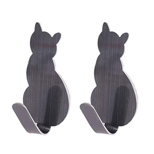 2 unids cola de gato con forma decorativa de la puerta de la pared de acero inoxidable de acero inoxidable de la pared de la percha de la percha de la percha de la percha de la percha de la percha de