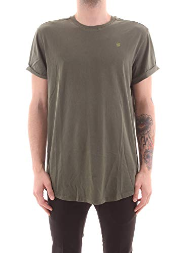 G-STAR RAW Lash Straight Fit Camiseta de Manga Corta, Verde (Wild Rovic 2653-B111), S para Hombre