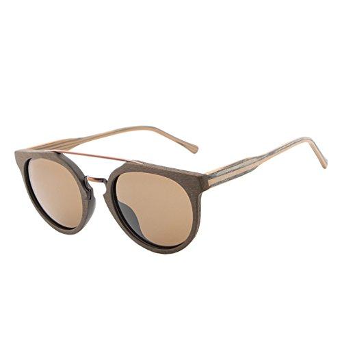 D DOLITY Gafas de sol unisex (mujer y hombre) de madera retro Vinatge + gafas de madera, protección UV400, Marrón café., 143 mm