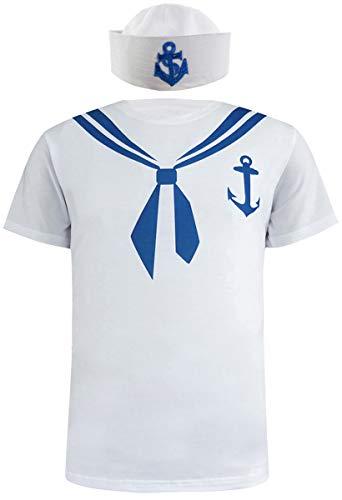 COSAVOROCK Maglietta del Costume da Marinaio Uomo con Cappello (XL)