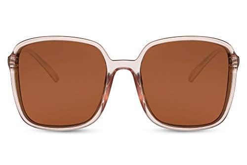 Cheapass Sunglasses - Gafas de sol clásicas cuadradas de gran tamaño con marco rosa transparente con lentes rosas con protección UV400 para mujer