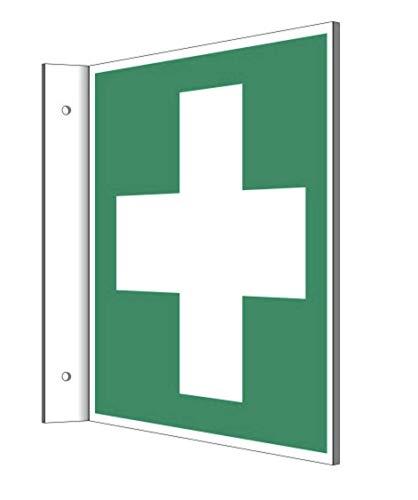 Fahnenschild Erste Hilfe Kreuz Kunststoffplatte 20x20cm nachleuchtend von MBS-FIRE
