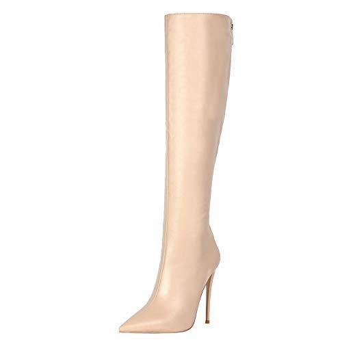 Lydee Donne Moda Stivali Ginocchio Stiletto Heels Back Zipper Ufficio Stivali Lunghi Festa Stivali Alti Apricot-Matte Dimensione 34
