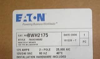 Challenger Westinghouse Cutler Hammer BWH2175 175 Amp Main Circuit Breaker