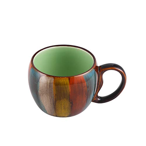 Ceramic Stylish Coffee Mug,Cocoa,Tea Coffee Drinks Cappuccino Cafe Mocha,12 oz Set of 1 Stripe Color