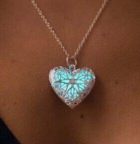 Coeur de la mer congelés de plus de lumière-Collier Pendentif Coeur-Phosphorescente-cadeau pour Elle-\