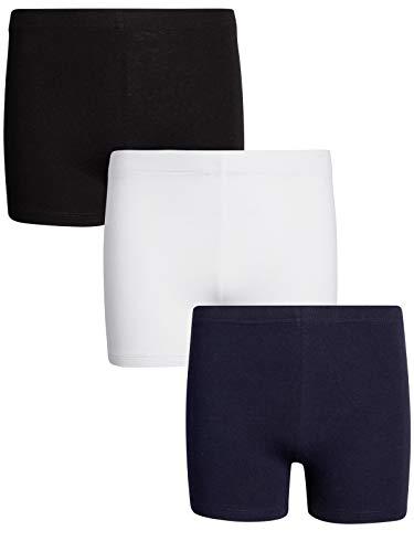 French Toast Girls Shorts - Cotton Active Bike Shorts (3 Pack), Size X-Large (14/16), Black/White/Navy