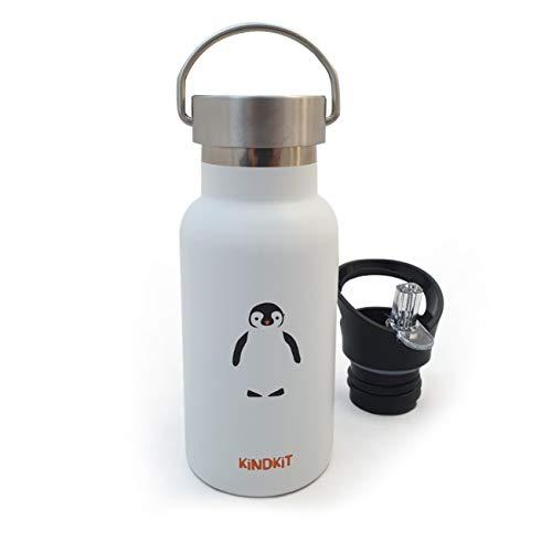 NEU 'Pinguin' Thermos Edelstahlflasche (350 ml) | Vakuum-Isoliert für heiße & kalte Getränke | Auslaufsicherer Sportdeckel + Schraubverschluss + Reinigungsbürste | Perfekt für Kinder
