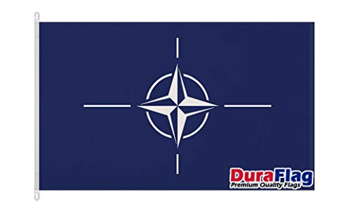 Duraflag NATO - Banderas de la Organización del Tratado del Atlántico Norte (1,5 m x 3 m, con clips/ganchos)