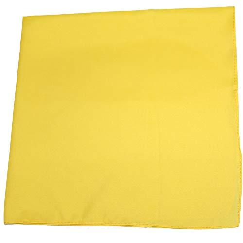 Set of 12 Solid 100% Polyester Unisex Bandanas  One Dozen, 22 in, Yellow