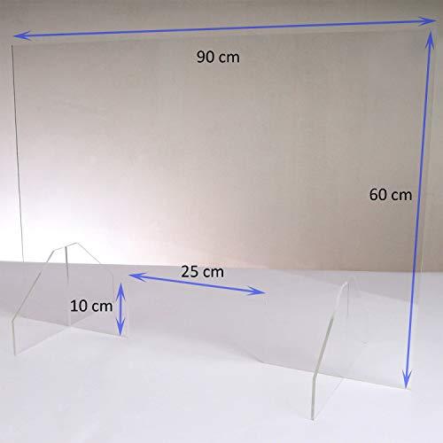 Queence | Hochwertiger Hustenschutz aus Acrylglas | Tröpfchenschutz für Apotheken und Arzt-Praxen | Niesschutz | Thekenaufsteller | Protector, Größe:90x60 cm