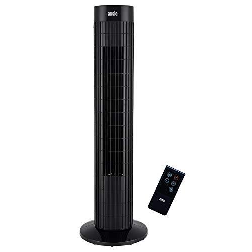ANSIO Oszillierender Turmventilator mit Fernsteuerung- Säulenventilator - 75CM Standventilator - Ventilator - 3-stufigem Windmodus mit 3 Drehzahlen und langem Kabel(1,75m) Schwarz