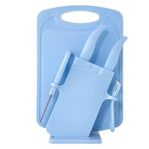 YLKCU Portacuchillos multifunción de plástico para niños, Bloque de Cuchillos para Tabla de Cortar Dos en uno, para Cocina casera, sin Cuchillos (Color: Azul B)